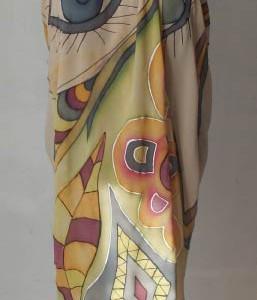 "Ръчно рисуван копринен шал Парео ""Екзотика"""