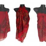 """Ръчно рисуван копринен шал Парео """"Нощни пеперуди"""""""