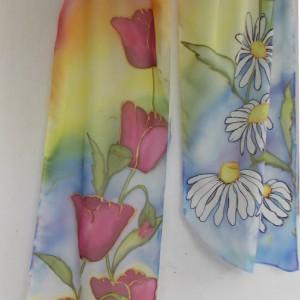 "Ръчно рисуван копринен шал ""Пролетна дъга """
