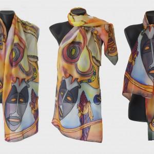 """Ръчно рисуван копринен шал"""" Африка  А """""""