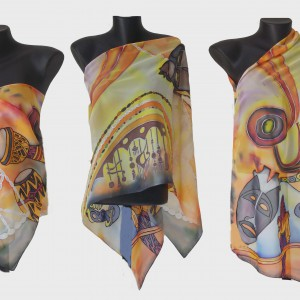 """Ръчно рисуван копринен шал """"Африка Б """""""