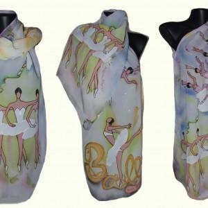 """Ръчно рисуван копринен шал""""Балет Александра"""""""