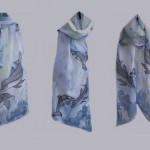 "Ръчно рисуван копринен шал""Делфините"""