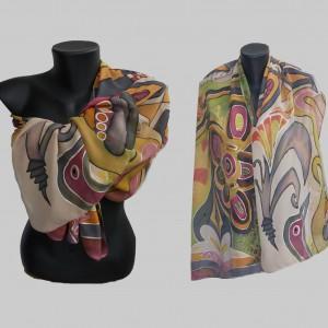 """Ръчно рисуван копринен шал """"Екзотика"""""""