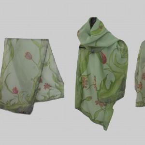 """Ръчно рисуван копринен шал """"Зелена симфония"""""""