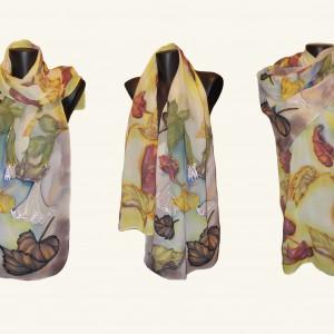 """Ръчно рисуван копринен шал """"Златна есен"""""""
