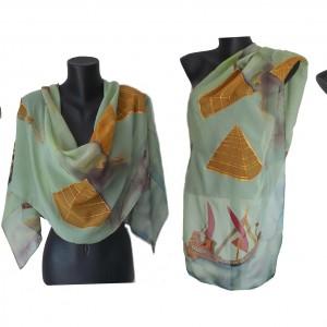 """Ръчно рисуван копринен шал """"Клеопатра"""""""