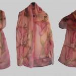 """Ръчно рисуван копринен шал """"Лилиуми """""""