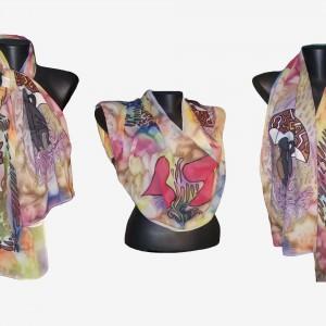 """Ръчно рисуван копринен шал """"Любовен дъжд """""""