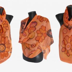"Ръчно рисуван копринен шал ""Оранжево небето """