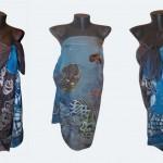 """Ръчно рисуван копринен шал Парео""""Морска приказка"""""""