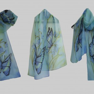"Ръчно рисуван копринен шал ""Пеперуди """