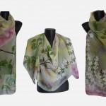 """Ръчно рисуван копринен шал """"Пролетен сън"""""""
