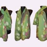 """Ръчно рисуван копринен шал """"Пролет"""""""
