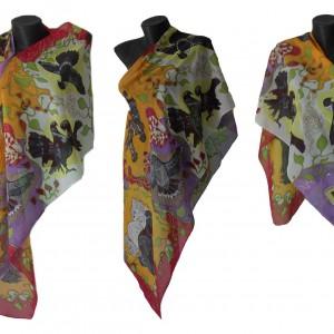 Ръчно рисуван копринен шал    Пъстроцветие  12049