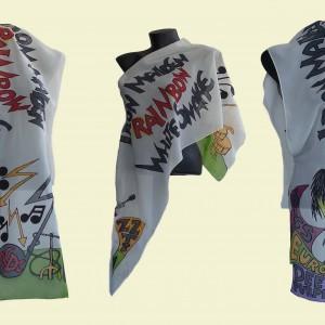 "Ръчно рисуван копринен шал ""Рок"""