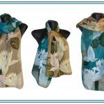"""Ръчно рисуван копринен шал """"Водни лилии 2 """""""