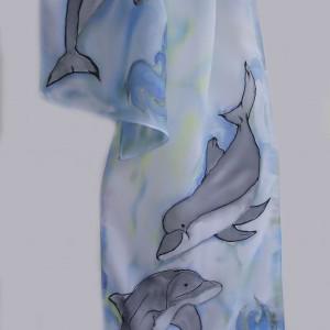 """Ръчно рисуван копринен шал """"Синьо лято"""""""