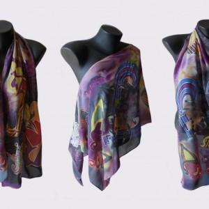 ръчно рисуван копринен шал, размери 140 х 40 см