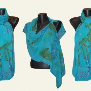 "Ръчно рисуван копринен шал ""Семирамида 2 "" .Материал-шифон.Размери 140 х 40 см.Atelie Nevy & DiL"