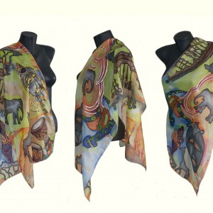 "Ръчно рисуван копринен шал ""Африка 2 "",размери 140 х 40 см,материя  100 % коприна,Atelie "" Nevy&DiL "",27 май 2014"