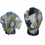 """Ръчно рисуван копринен шал """"Палитра на женските емоции"""",размер 90 х 90 см ,материя :100 % коприна,ателие Nevy&DiL,20 мьй 2014"""