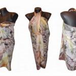 "Ръчно рисувано копринено Парео ""Тигрово око"",материя: 100 % коприна,размери 140 х 90 см,юли 2014,Atelie Nevy & DiL"