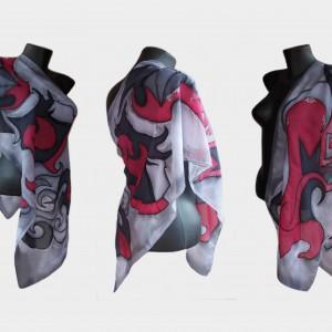 """Ръчно рисуван копринен шал """"Абстрактно"""",материя-шифон,размер 140 х 40 см,Atelie Nevy & Dil ,създаден на 16 август 2014"""