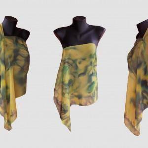 """Ръчно рисуван копринен шал """"Тайната на тюркоазения пръстен"""",материя:шифон,размери 140 см х 40 см,Atelie Nevy& DiL ,3 септември 2014"""