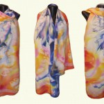 "ръчно рисуван копринен шал""Корали"",размер 180х42см,плътна коприна"