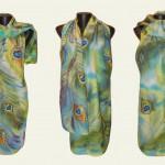 Ръчно рисуван копринен шал   Паунови пера   200
