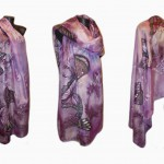 Ръчно рисуван копринен шал   Нощтни пеперуди 220 на 90       200
