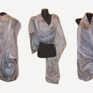 Ръчно рисуван копринен шал   Нежен бриз         200
