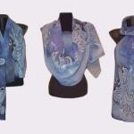 Ръчно рисуван копринен шал   Грация     200