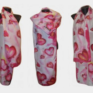 Ръчно рисуван копринен шал   Любов  200