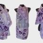 Ръчно рисуван копринен шал   Теменужено 200