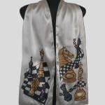Ръчно рисуван копринен шал    М шах 1