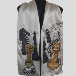 Ръчно рисуван копринен шал    М шах 2