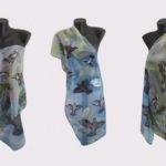 Ръчно рисуван копринен шал     Гълъби    200   dpi