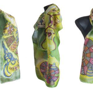 Ръчно рисуван копринен шал    Казино        200