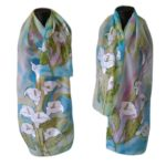 Ръчно рисуван копринен шал  Калии  200
