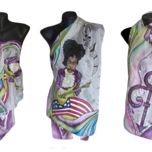 Ръчно рисуван копринен шал     Принс  200