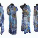 Ръчно рисуван копринен шал    Парео  Морска приказка  2           72