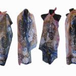 Ръчно рисуван копринен шал    Парео  Морски свят     72