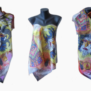 Ръчно рисуван копринен шал Кукери 200