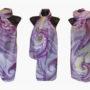 Ръчно рисуван копринен шал Бриз в лилаво 72