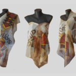 Ръчно рисуван копринен шал Евклид 72
