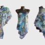 Ръчно рисуван копринен шал Ах морето 200 dpi