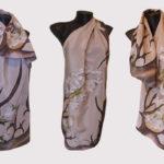 Ръчно рисуван копринен шал Икебана в бежаво 72 – Копие