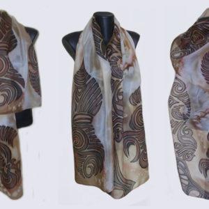 Ръчно рисуван копринен шал Предчувствие 2 200